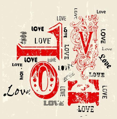 Set Of Vintage Love Design Elements Vector 02 Valentines Day Clipart Vintage Love Love Design