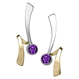 Siilver and 14kt Gold Wrap Around Gemstone Earrings
