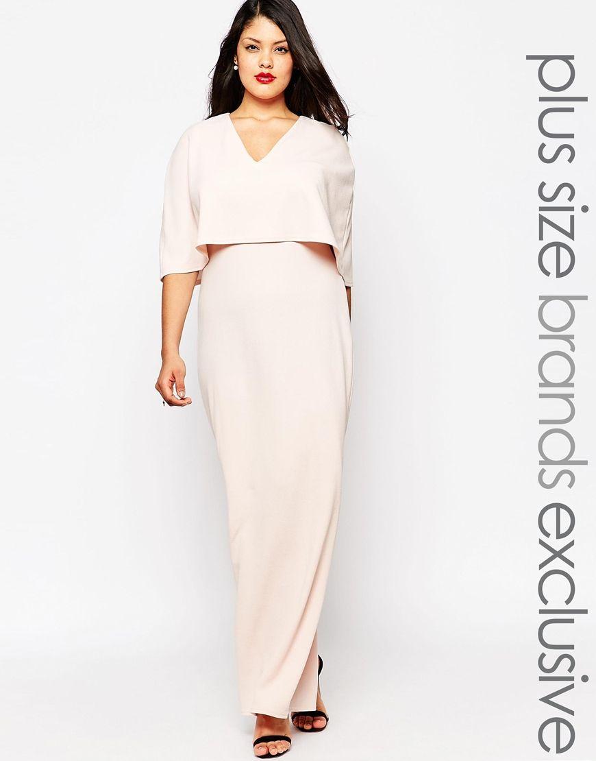 Club L Plus Plunge Front Maxi Dress With Kimono Sleeves | PLUS SIZE ...