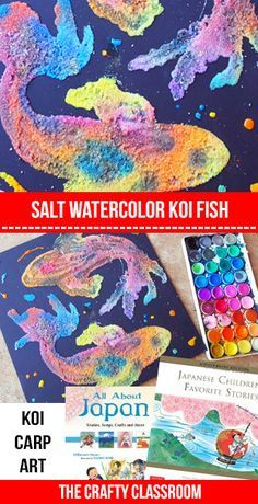 koi watercolor art project for kids wasserfarben salz und malen. Black Bedroom Furniture Sets. Home Design Ideas