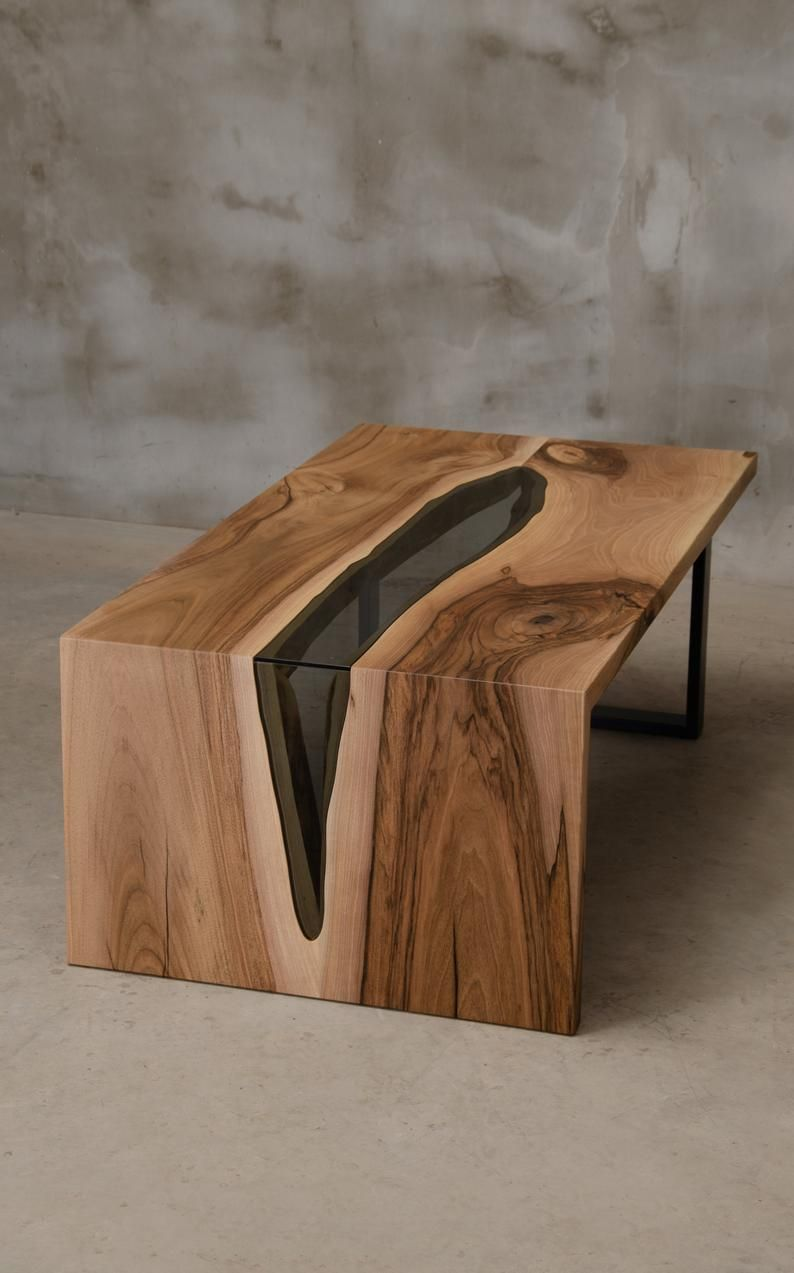 Custom Live Edge Table Made Of Walnut Wood River Table With Etsy Wood Resin Table Wood Table Design Coffee Table Wood [ 1273 x 794 Pixel ]