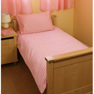 white and pink gingham check /'Saplings/' Cot bed duvet cover /& pillow case