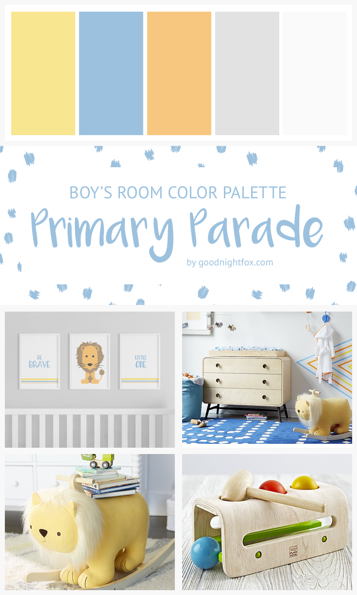 Blue Orange Boys Room Lion Baby Primary
