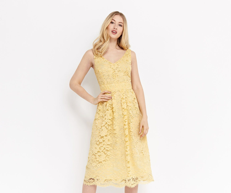 Oasis, LACE SKATER DRESS Pale Yellow | Pretty Dresses | Pinterest ...