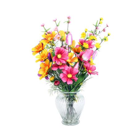 Add a touch of garden elegance to your credenza or side table with this lovely faux flower arrangement, showcasing lovely blooms in a chic glass vase.