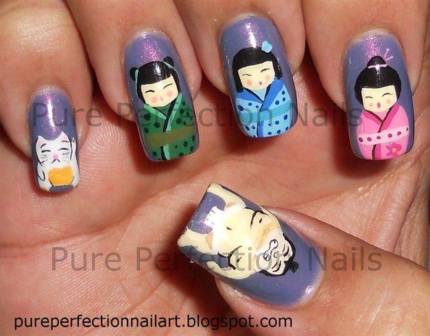 Japanese Geisha, Lucky Cat & Sumo Nail - Nail Art Gallery by NAILS ...