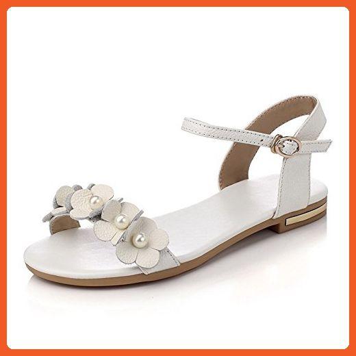 Women's Cow Leather No Heel Open Toe Solid Buckle Flats-Sandals