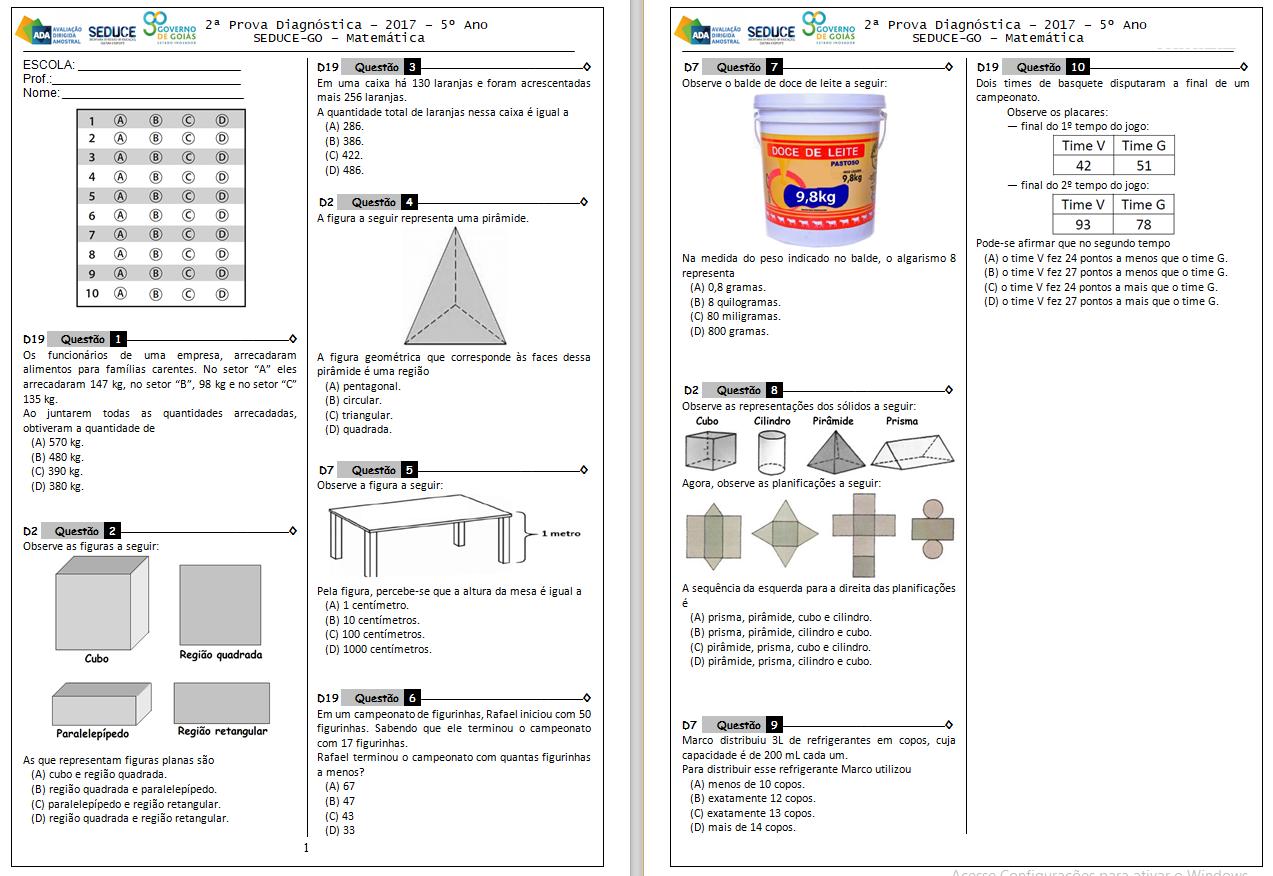 Preferência Simulado de Matemática 5 ano Prova Brasil com gabarito para  HA07
