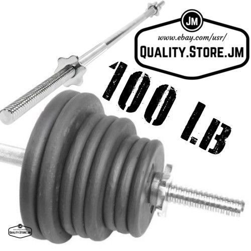 Bar With Weight Plates Set Free Lifting Standard 1 Inch 100 Lb Men Women Barbell  sc 1 st  Pinterest : weight plate set - pezcame.com