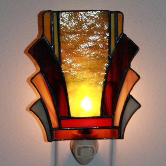 Art deco stained glass night light 2