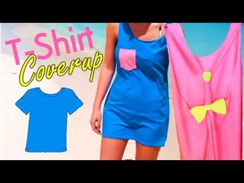 b90e672c24 DIY T-shirt Beach and Swimsuit Coverup with a cute bow and pocket ...