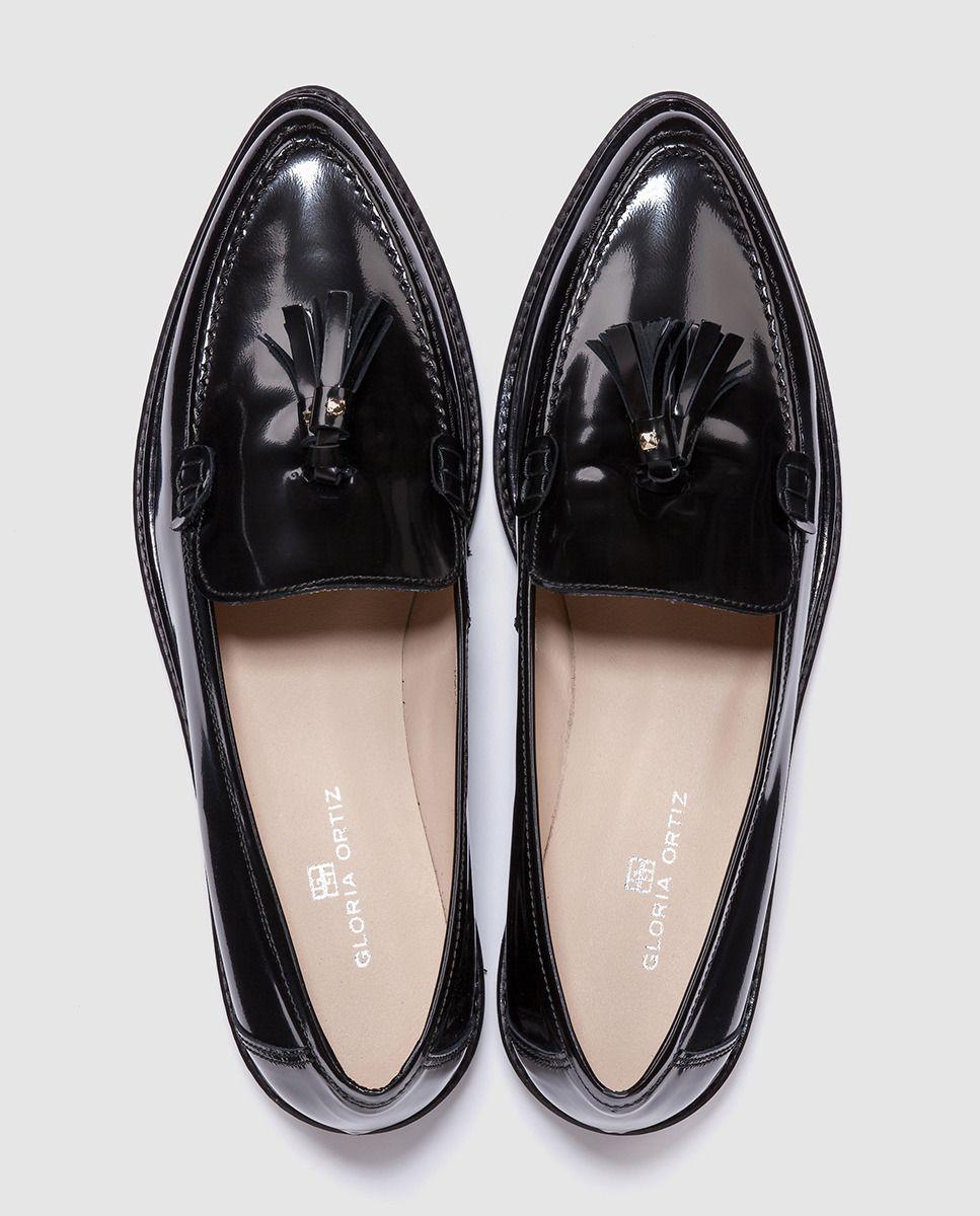 ec3ab51587c Mocasines de mujer Gloria Ortiz negros de piel   Zapatos   Mocasines ...