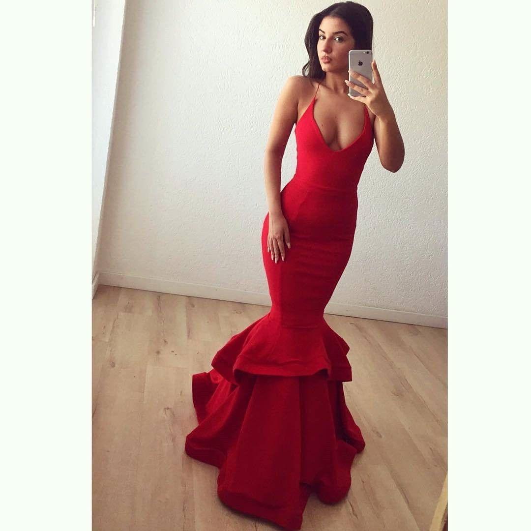 Red mermaid prom dresssatin prom gownsred evening dressprom