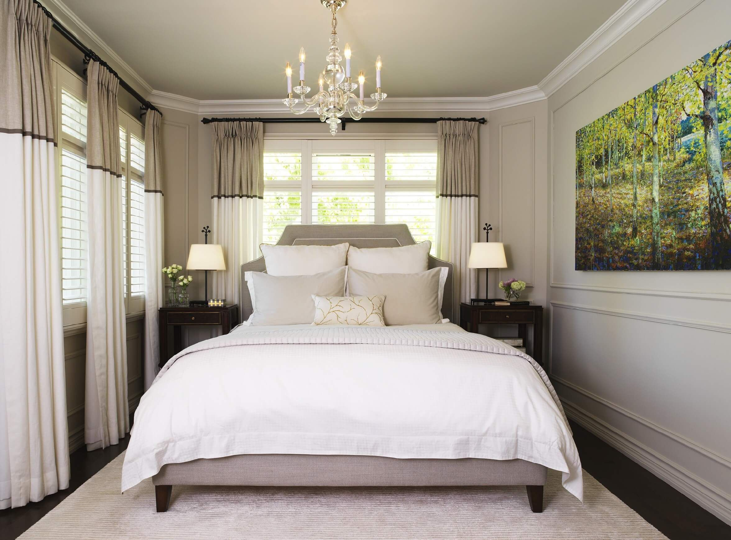 Adding drapery to any space, in particular a small bedroom
