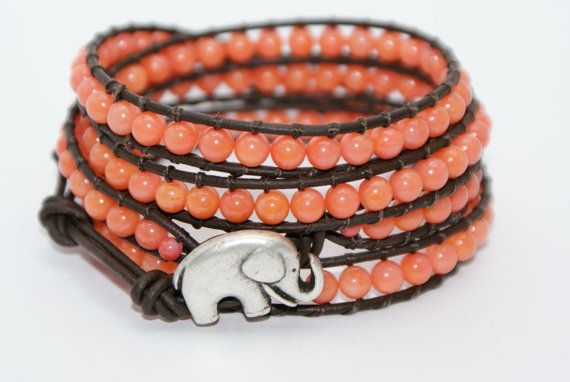 Beaded leather wrap bracelet  Four wrap Elephant by fizzscott,