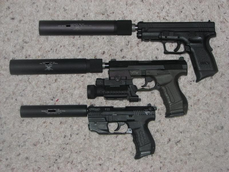 I want the middle one  Walther P99 w/ Jarvis barrel, Laser