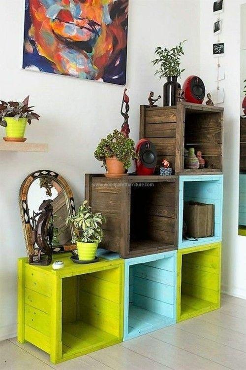 regal aus paletten oder kisten blument pfe vasen mitbringsel paletten m bel deko. Black Bedroom Furniture Sets. Home Design Ideas