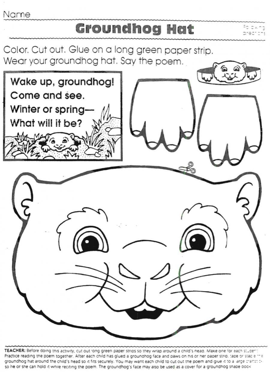 Groundhog Hat Groundhog Day Activities Kindergarten Groundhog Day Groundhog Activities [ 1238 x 900 Pixel ]