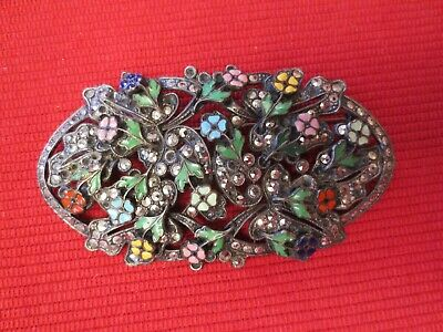 SELOVO Marquise Shape Brooch Pin Black Flower Dress Accessory Gold Tone