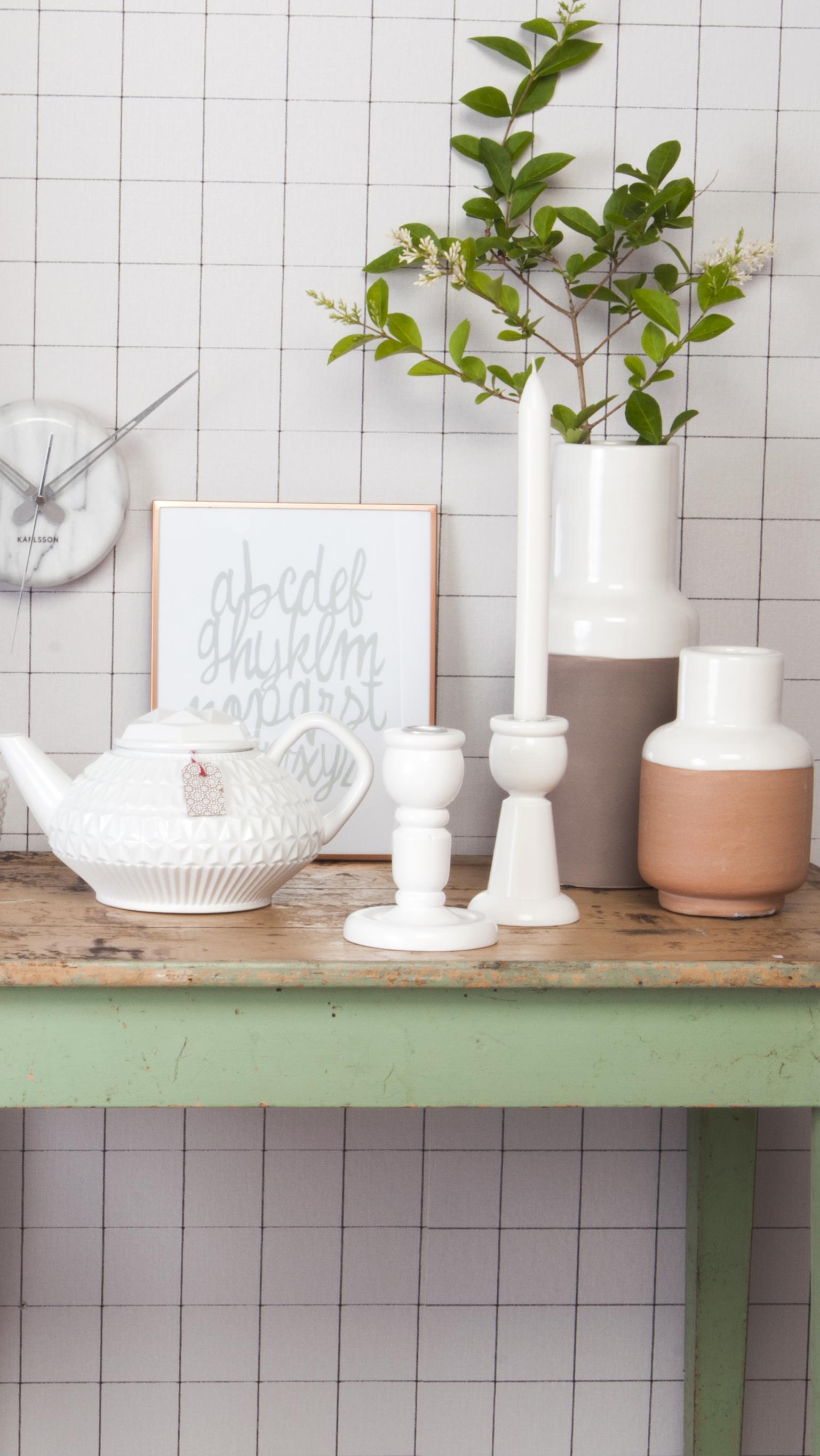 Handmade ceramic vase in pastel colours