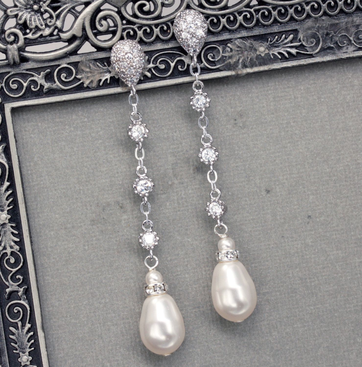 c38a9056f40e9a Long Pearl Dangle Earrings, Bridal Pearl Drop Earrings, Teardrop Pearl  Earrings, Wedding Jewelry, Pearl and Rhinestone