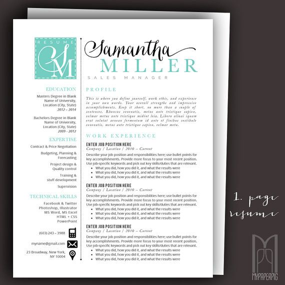 Resume Template and Cover Letter Template by MYPAPERPIG on Etsy - download cover letter template