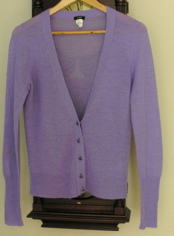 J CREW PURPLE ACRYLIC ALPACA WOOL CARDIGAN SWEATER   SZ M  fashion   clothing   482b431a4