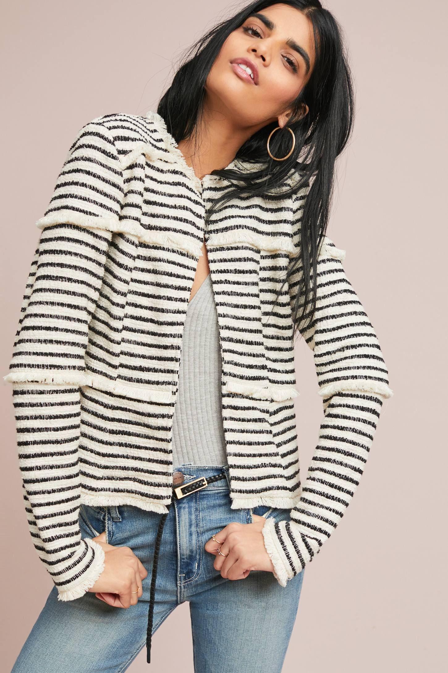 Fringed Stripe Jacket Anthropologie Striped jacket
