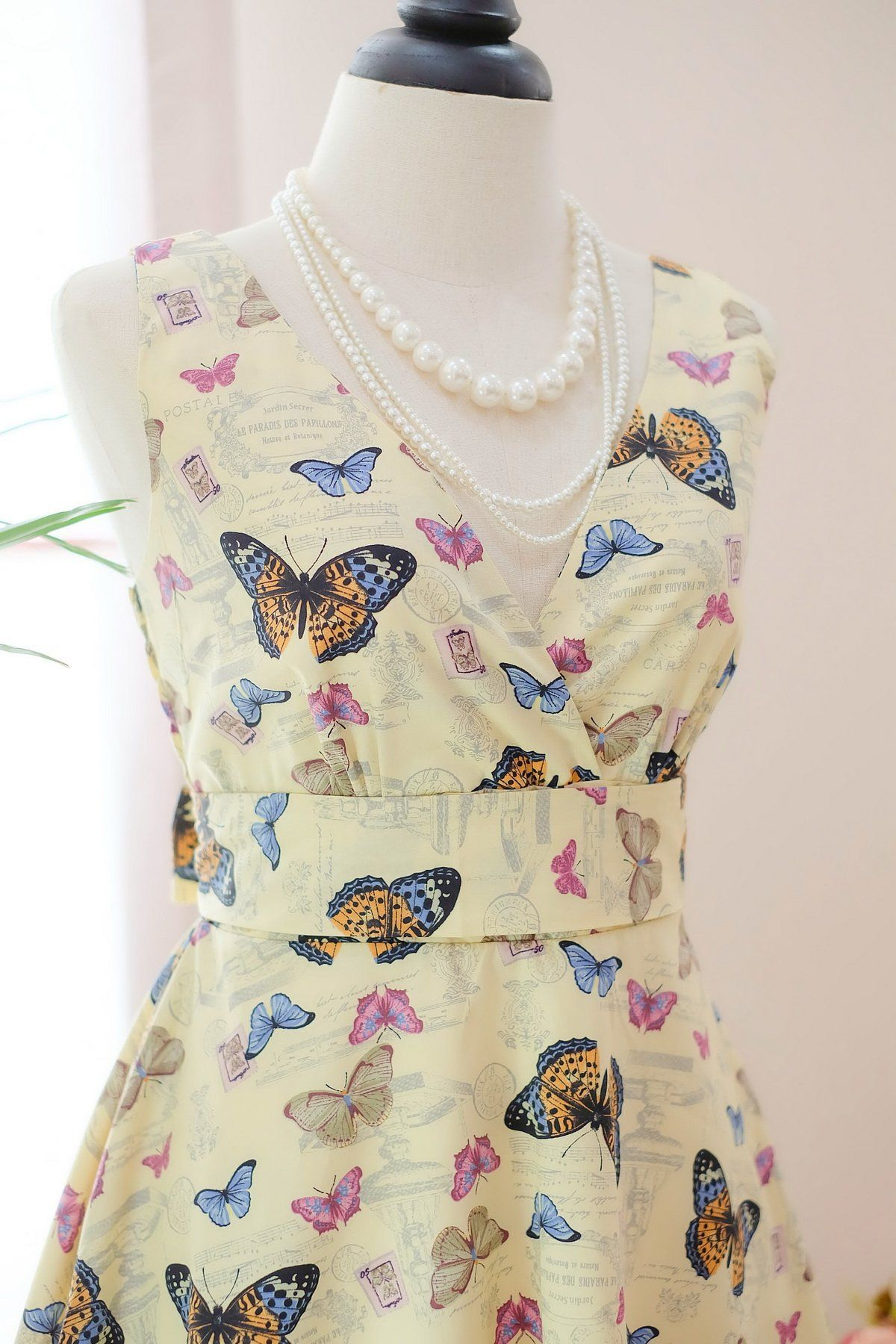 My lady dress vintage summer sundress faded yellow party dress