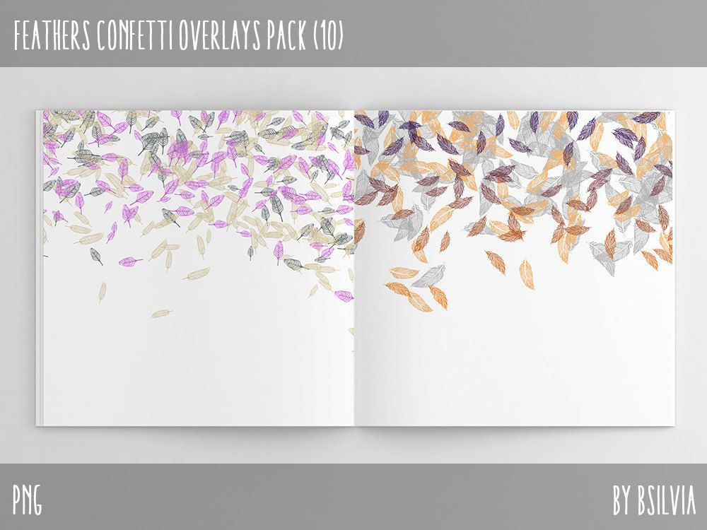 Feathers Confetti Overlays, Digital Feathers Confetti Photo Overlays - confeti