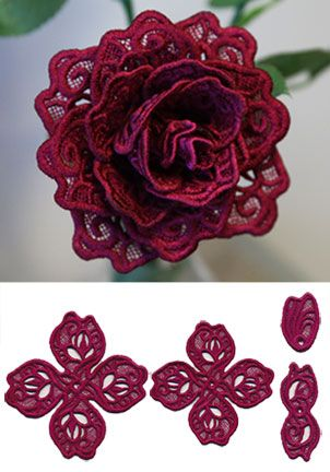 Rose In 3d Lace Design X13238 From Www Emblibrary Com