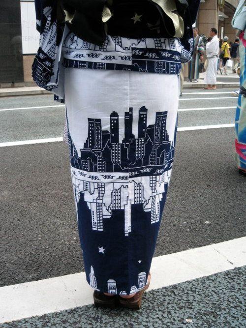 City skyline yukata