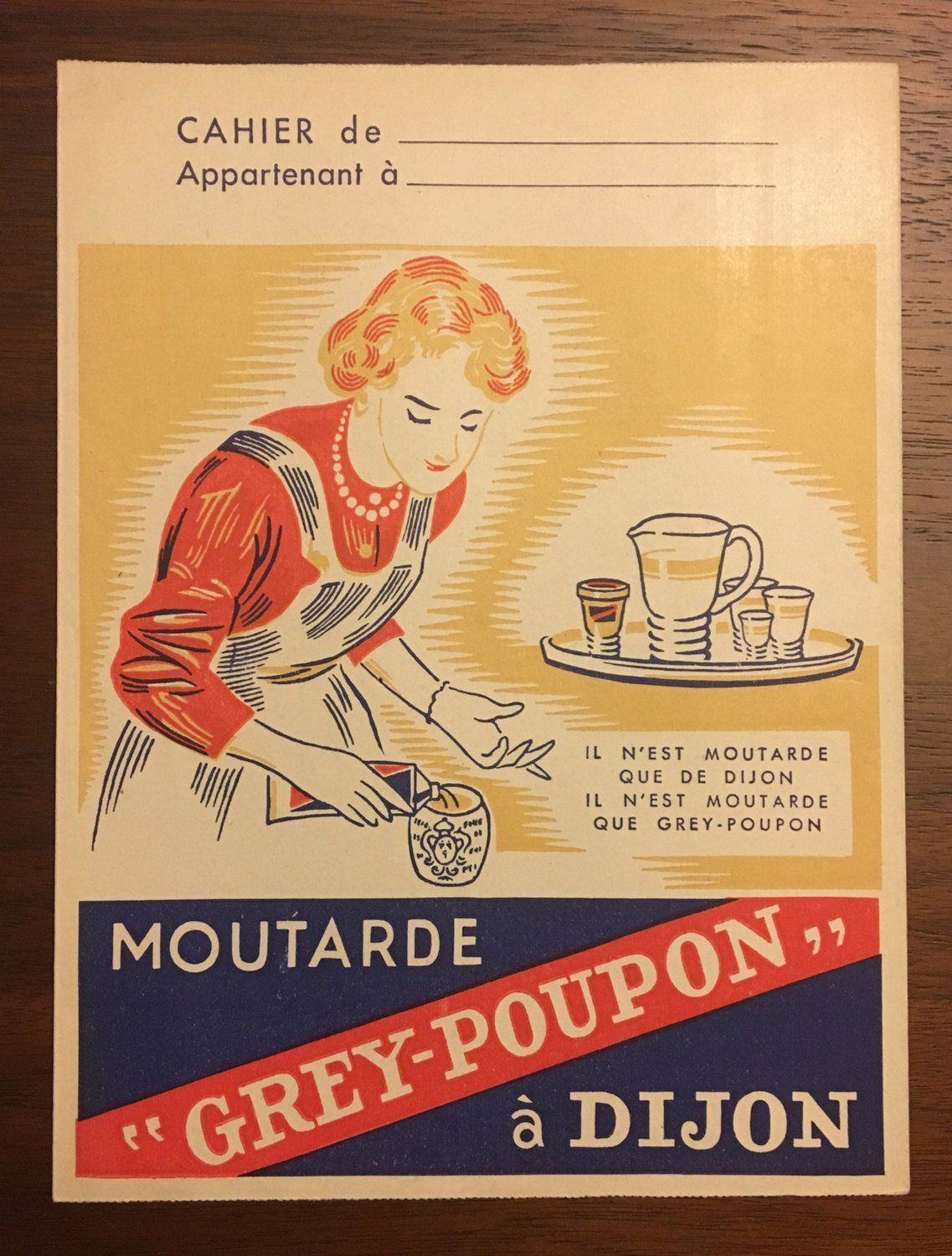 Vintage French Grey Poupon Mustard Advertising Notebook Cover ...