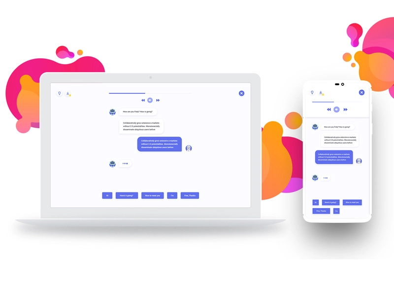 ChatBot screen for Desktop and Mobile Chatbot, Chatbot