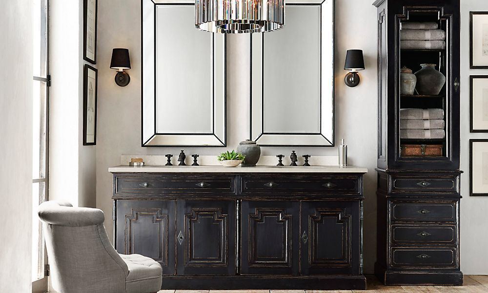 Restoration hardware vanity living the glamorous life for Bathroom restoration ideas