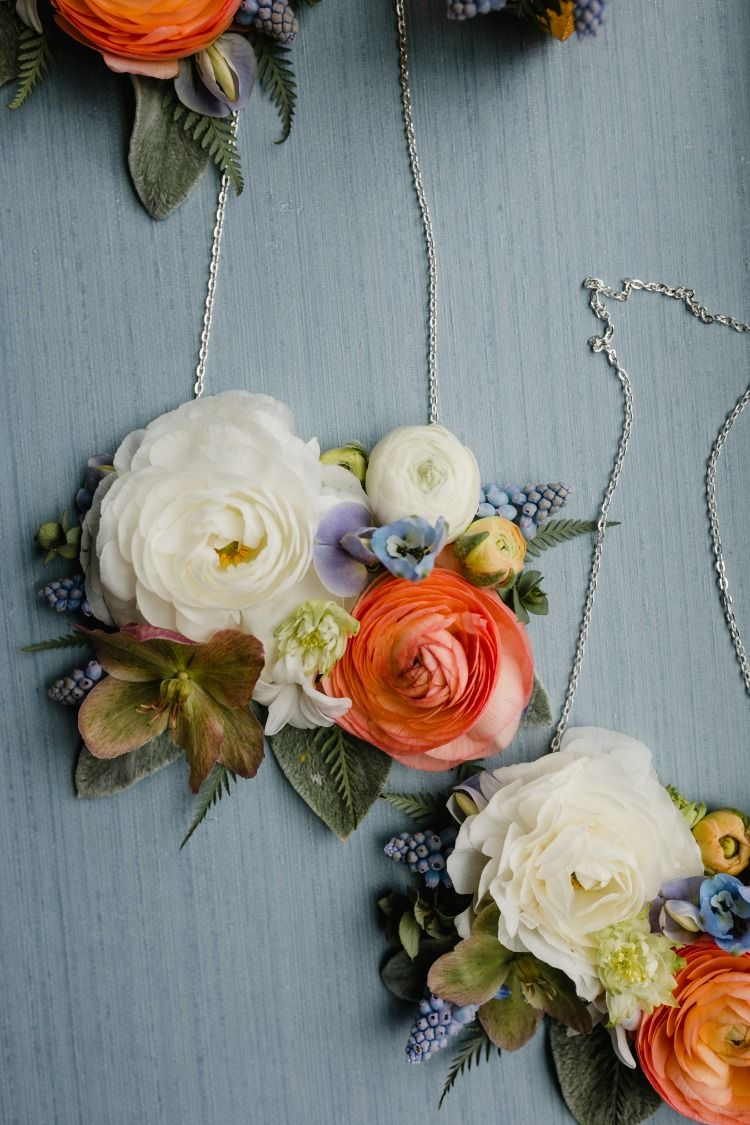 Fresh Floral Necklaces For Your Maid Of Honor Floral Flower Necklace Wedding Fresh Flower Jewelry