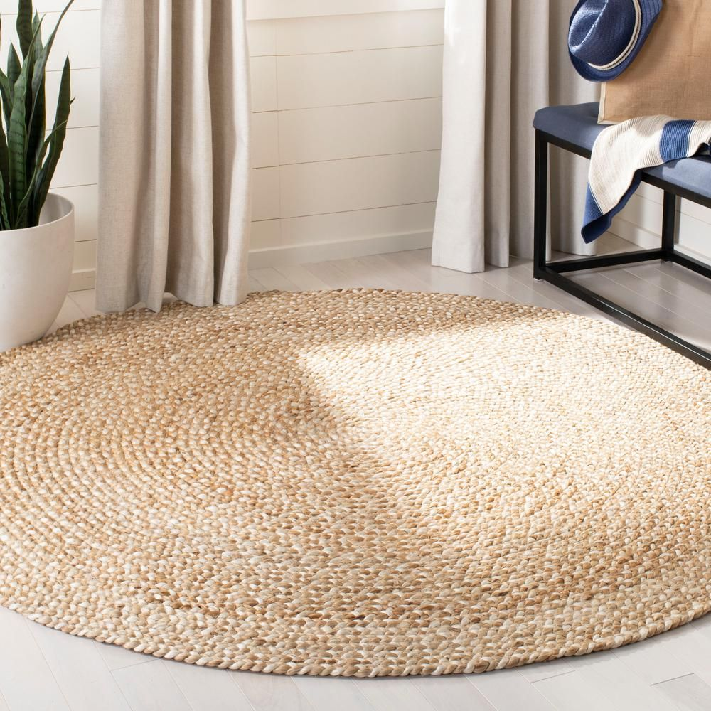 Safavieh Natural Fiber Beige Ivory 5 Ft X 5 Ft Round Indoor Area Rug Nf804b 5r The Home Depot Jute Round Rug Rugs Jute Area Rugs