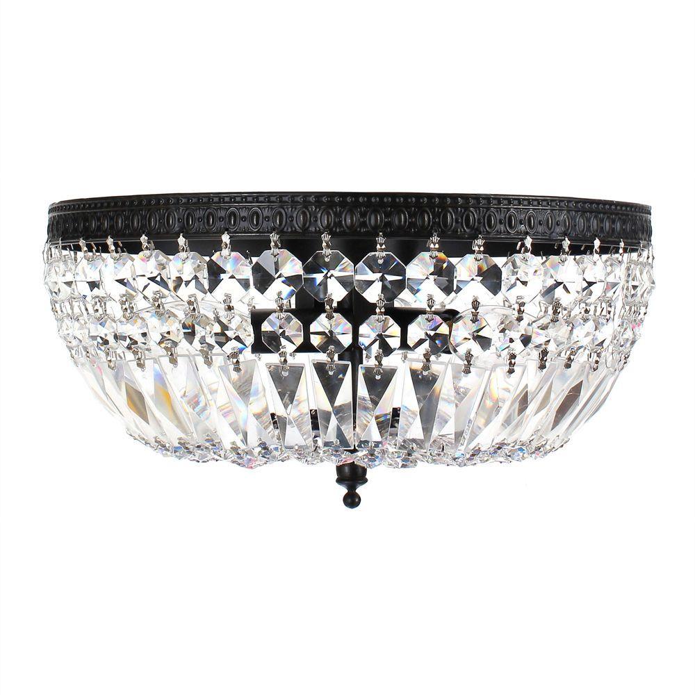 The Jessica Three Light Crystal Basket Flush Mount