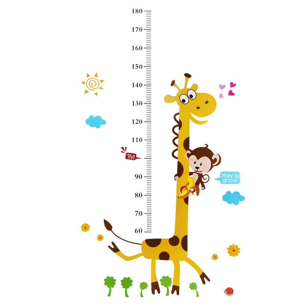 Giraffe monkey removable vinyl wall decal stickers kid baby height giraffe monkey removable vinyl wall decal stickers kid baby height chart measure ebay geenschuldenfo Image collections