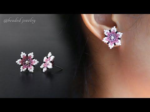Photo of Cherry blossom stud earrings. How to make beaded jewelry. Beading tutorial
