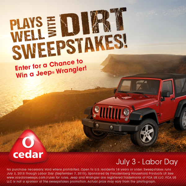 Enter here: http://bit.ly/OcedarSweepstakes for a chance to win a brand-new 2015 Jeep® Wrangler along with other product prizes from O-Cedar! Make sure to like us on Facebook to stay up to date with our fantastic products and any giveaways!