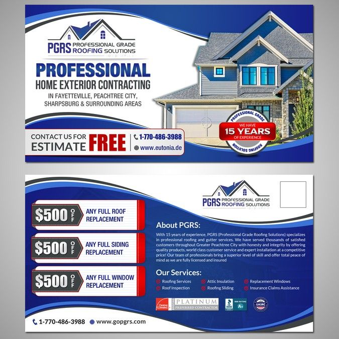 Create A 1st Class Clean Design Post Card For Roofing