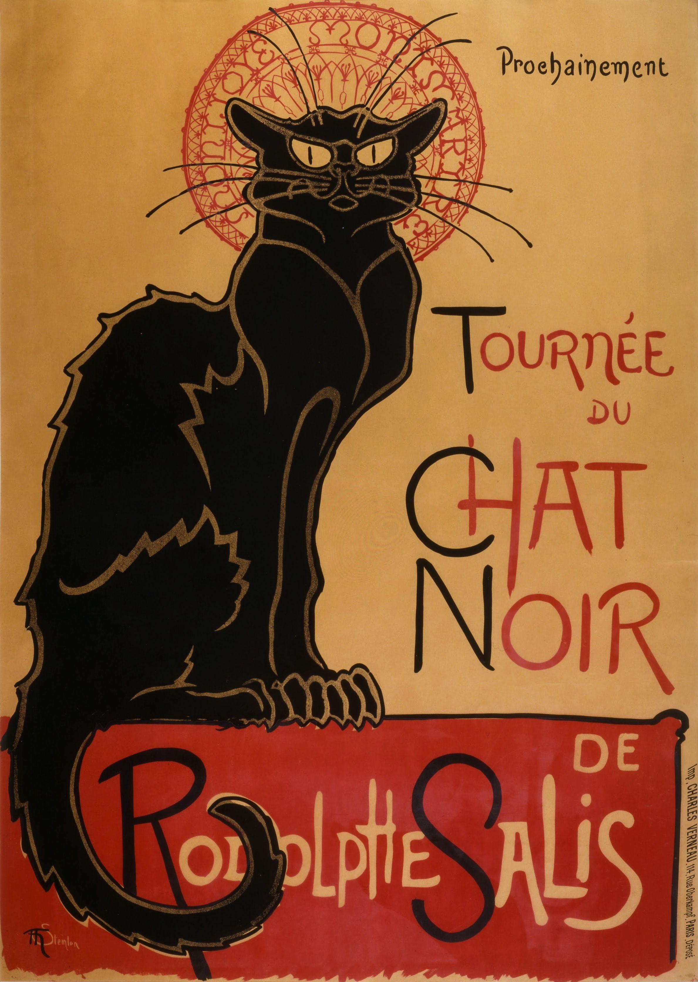 Cartel publicitario para Le chat noir, de Théophile Alexandre ...