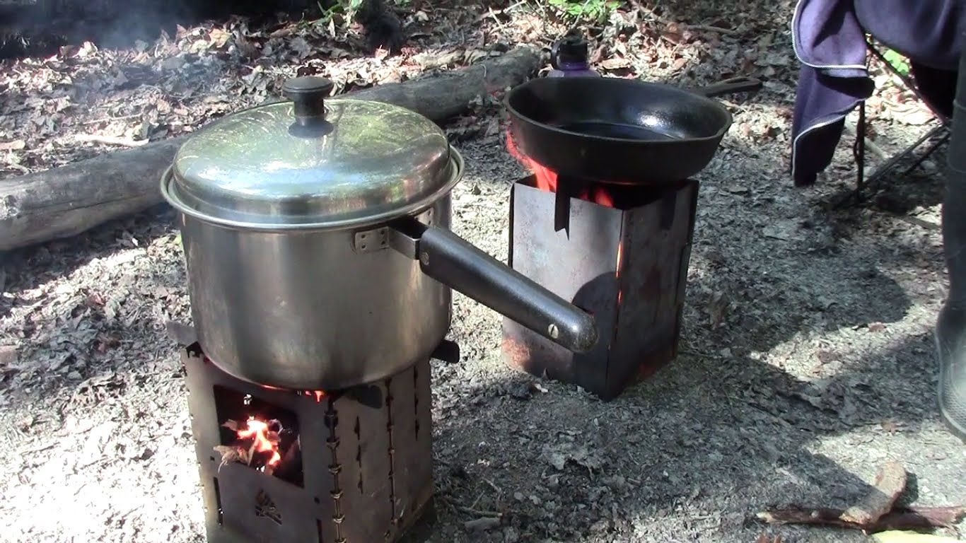 Fresh Bread Mushrooms And Caribou On Twig Fired Camp Stove