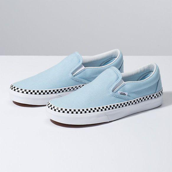 Vans Slip On Baby Blue & White Checkered Skate Shoes | Blue