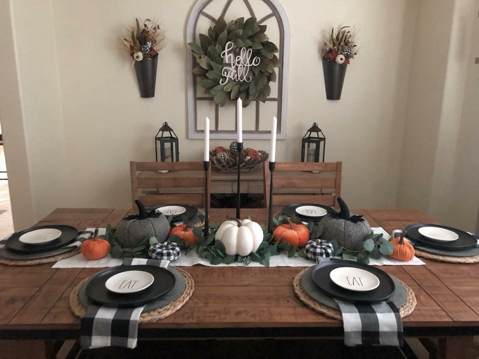Center Decor Fall Dining Room Autumn Dining Dining Room Table Centerpieces