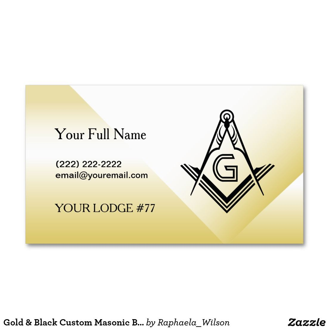 gold black custom masonic business card template custom