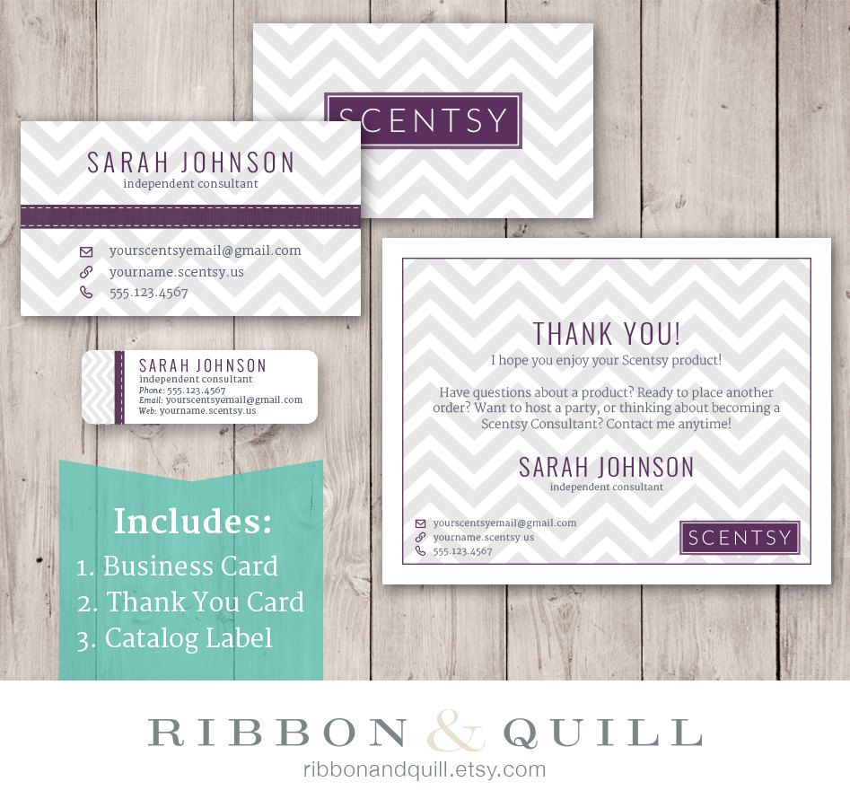 Scentsy Chevron Bundle Business Card Thank You Label Custom - Vistaprint template business card