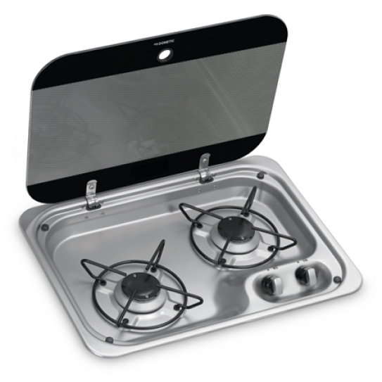 Dometic 2 Burner Hob Cooktop with Glass Lid, 3yr warranty