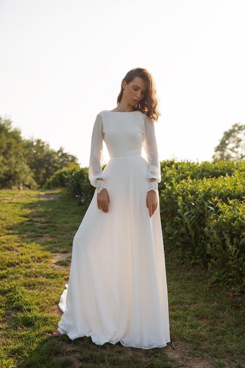 Chiffon wedding dress ANASTEISHA,  long sleeves simple wedding dress with open back -   18 dress Simple pictures ideas